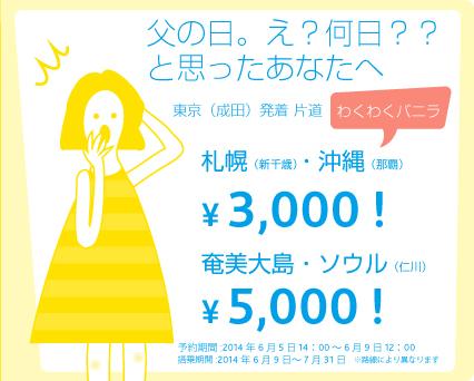 バニラ・エアが成田~札幌・沖縄が3,000円、奄美大島・ソウルが5,000円のキャンペーンセールを発表