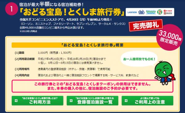 完売した徳島県のふるさと旅行券