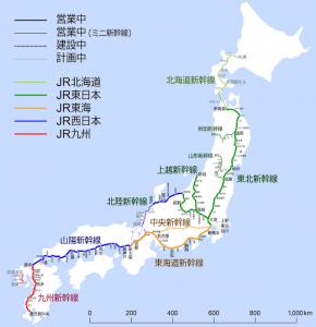 新幹線の路線図