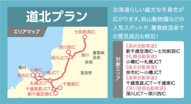 道北プランの乗り放題エリアマップ
