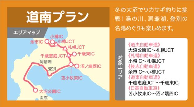 道南プランの乗り放題エリアマップ